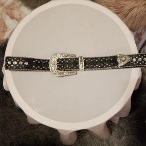 Rhinestone and studded belt